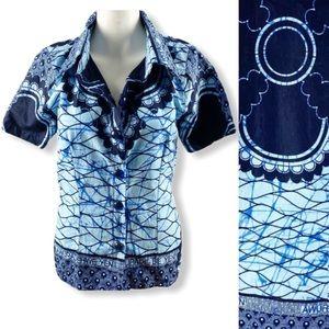 Boho African Shirt Top Button Up Short Sleeve Blue